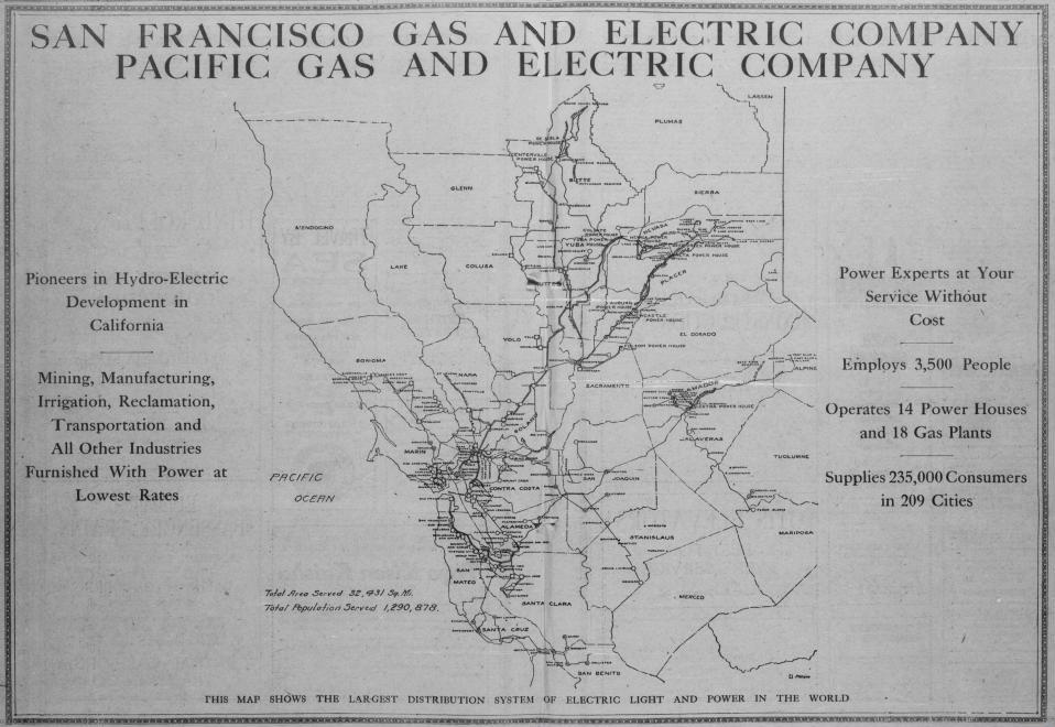 By 1911 PG&E claimed to have the largest transmission system in the world!